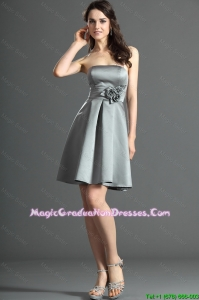 The Super Hot Short Silver Graduation Dress with Hand Made Flowers