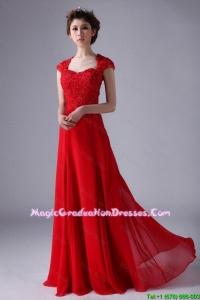 V Neck Lace and Red Best Graduation Dresses with Beading and Lace