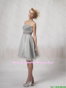 Wonderful Short Silver Graduation Dresses Sequins and Belt Silver for 2016