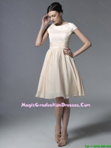 2016 Inexpensive Short Champagne Graduation Dresses with Ruching