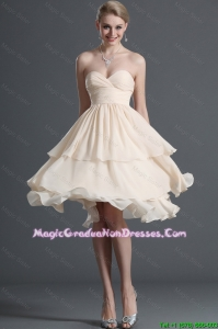 2016 Summer Fashionable Ruching Short Graduation Dresses in Champagne