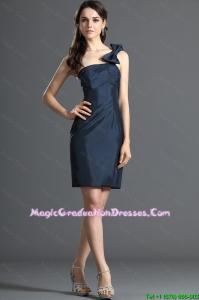 2016 Wonderful One Shoulde Bowknot Short Navy Blue Graduation Dresses