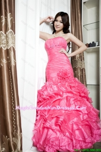Affordable Beading and Ruffles Mermaid Graduation Dresses in Coral Red