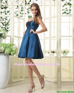 Beautiful A Line Sweetheart Ruched Graduation Dresses in Navy Blue