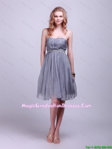 Classical Strapless Short Graduation Dresses with Belt and Ruching