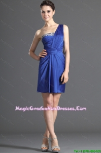 Custom Made One Shoulder Short Beading Graduation Dresses in Royal Blue