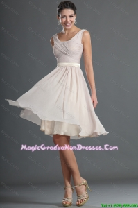 Customized Short Ruching and Belt Graduation Dresses in Champagne