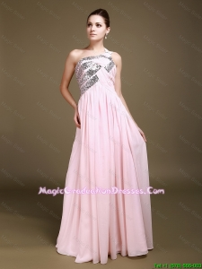 Delicate One Shoulder Baby Pink Graduation Dresses with Sequins
