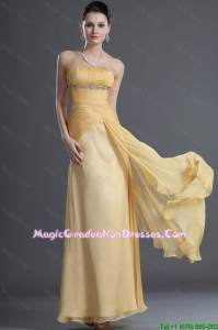 Discount Beading and Ruching Graduation Dresses in Gold for 2016
