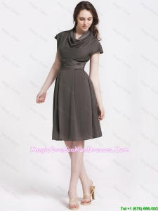 Discount High Neck Knee Length Graduation Dresses in Chocolate