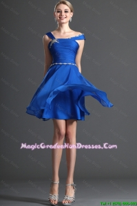 Discount Straps Beading Royal Blue Short Graduation Dresses for 2016