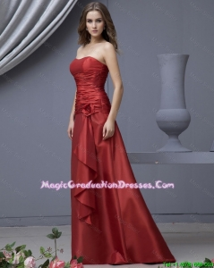 Modern Column Strapless Graduation Dresses with Ruching and Hand Made Flowers