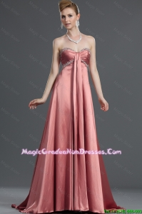 Most Popular Beading Elastic Woven Satin Graduation Dresses with Brush Train