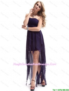 Most Popular Strapless Backless Graduation Dresses with High Low
