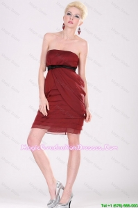 New Arrivals Strapless Belt Graduation Dresses with Mini Length