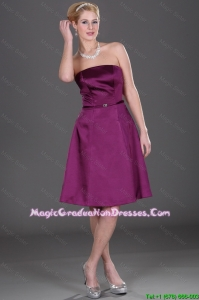 Popular Strapless Eggplant Purple Graduation Dresses with Belt