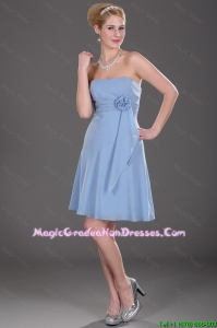 Popular Strapless Short Graduation Dresses with Hand Made Flowers
