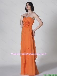 Popular Sweetheart Hand Made Flowers Graduation Dresses in Orange