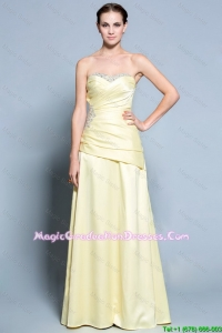 Pretty Column Sweetheart Graduation Dresses with Beading in Light Yellow