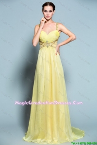 Pretty Empire Straps Graduation Dresses with Beading