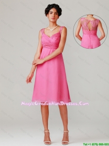 Pretty Short Straps Graduation Dresses with Lace and Ruching