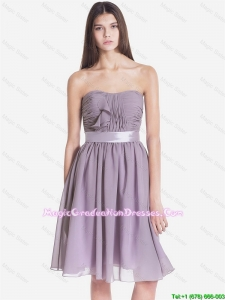 Pretty Strapless Short Graduation Dresses with Belt and Ruching