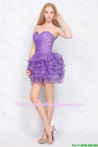 Pretty Sweetheart Lavender Short Graduation Dresses with Ruffled Layers