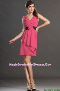 Wonderful Short V Neck Ruching and Belt Graduation Dresses