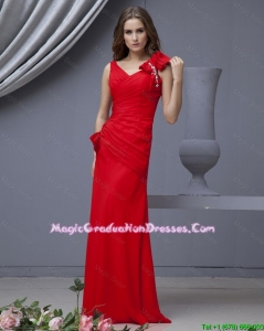 2016 Elegant Red Graduation Dresses with Beading and Bowknots