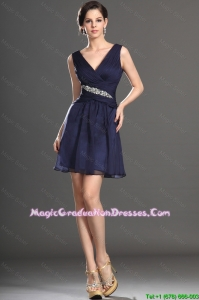 2016 Latest V Neck Short Navy Blue Party Dresses with Beading
