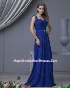 2016 Perfect Straps Beading Long Graduation Dresses in Royal Blue