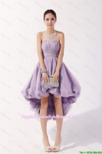 2016 Romantic Strapless High Low Lavender Party Dresses with Beading
