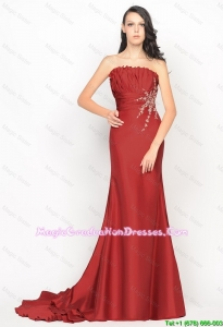 Beautiful Column Strapless Rust Red Party Dresses with Brush Train