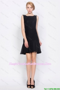 Cheap Short Bateau Beaded Chiffon Party Dresses in Black