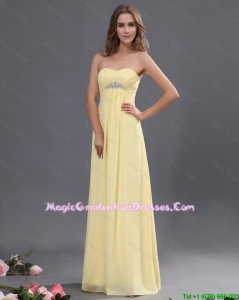 Custom Made Yellow Long Graduation Dresses with Beading for 2016