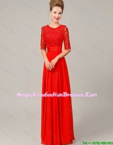 Fashionable Scoop Laced Red Party Dresses with Half Sleeves