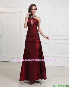 Most Popular Straps Burgundy Party Dress with Beading for 2016