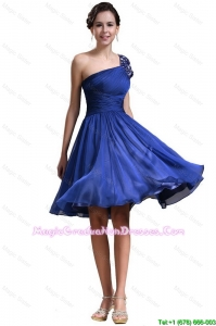 New Style One Shoulder Short Graduation Dresses in Royal Blue
