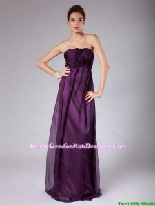 Perfect Ruched Sweetheart Graduation Gowns with Hand Made Flowers