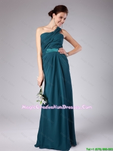 Popular One Shoulder Floor Length Party Dresses with Ruching