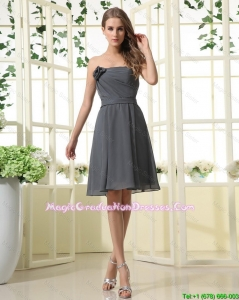 Pretty Hand Made Flower Grey Short Party Dresses