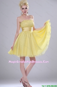 Pretty Yellow Mini Length Party Dresses with Spaghetti Straps