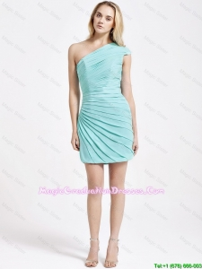 Romantic Short One Shoulder Ruching Party Dress in Turquoise