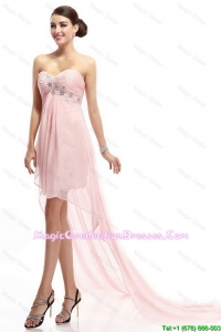 Best Selling Sweetheart Beaded Graduation Gowns with High Low