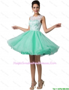 Elegant Laced Scoop A Line Graduation Dresses in Apple Green