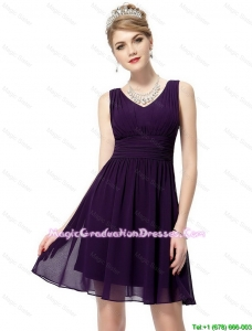 Beautiful V Neck Dark Purple Graduation Dresses with Ruching