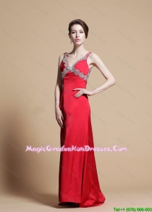 Exclusive Empire V Neck Beaded Graduation Dresses with Watteau Train