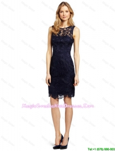 Gorgeous Column Bateau Laced Graduation Dresses in Black for 2016