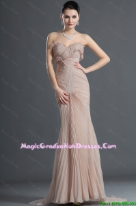 Gorgeous Mermaid Brush Train Pleats Graduation Dresses in Champagne