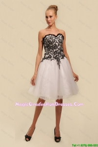 Gorgeous White and Black Graduation Dresses with Appliques